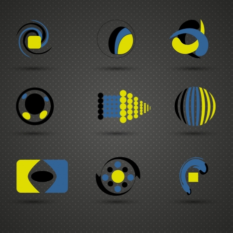 logo sets design in black blue yellow colors
