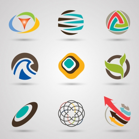 logo sets design with colored abstract circles style