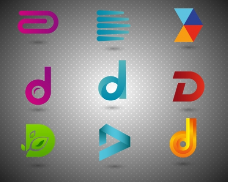 logo sets design with shapes and alphabet style
