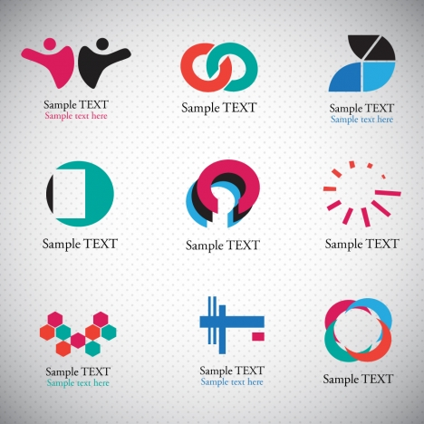 logo sets with abstract shapes on bright background