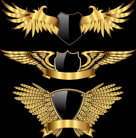 logotypes collection wings shield icons shiny golden decoration