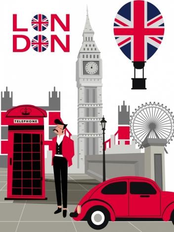 london advertising background colored symbols elements decor