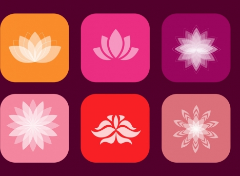 lotus icons collection various shapes isolation