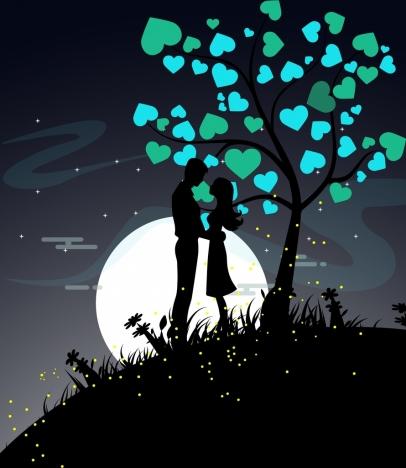 love background couple icon silhouette hearts tree decor