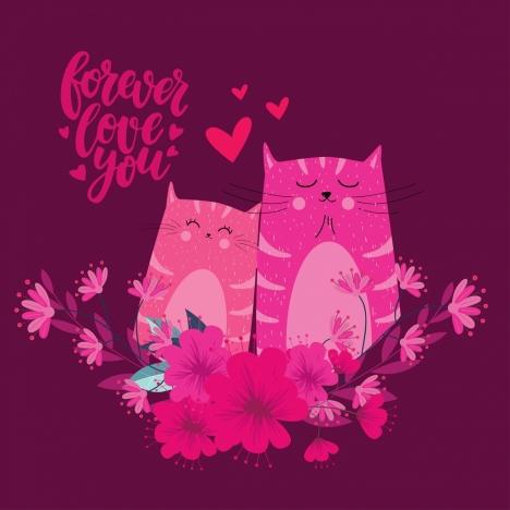 love banner cat couple icon dark pink design