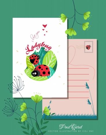 love postcard template ladybug icons decor