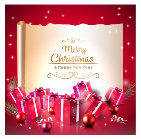 Luxury Christmas greeting card with red gift boxes and old paper
