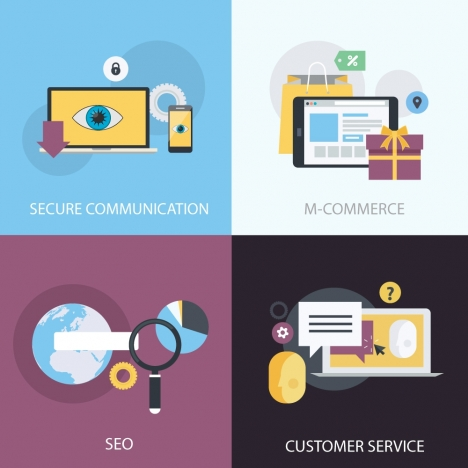 m commerce concepts illustration with online applications