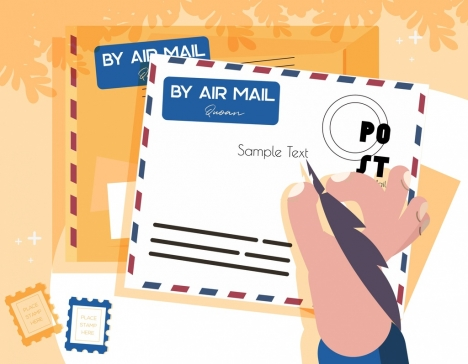 mailing background postcard envelope icons decor