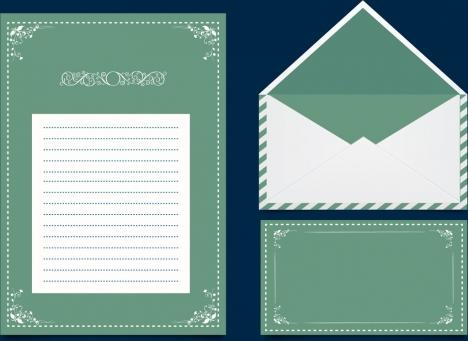 mailing design elements classical curves dark green ornament