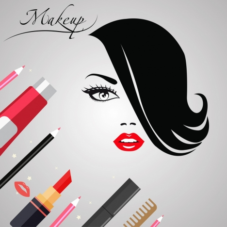 makeup banner woman face sketch accessories icons ornament