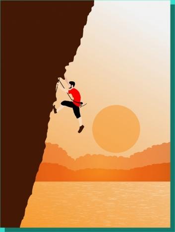 man climbing cliff theme colored cartoon style design