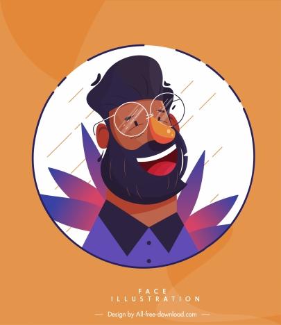 man face icon smile sketch cartoon character design