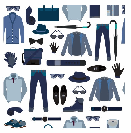 man fashion collection isolated with various elegant accessories