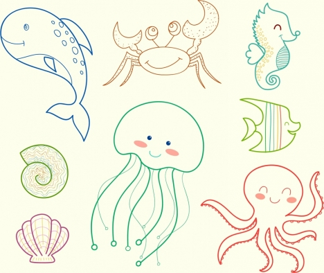 marine creatures icons handdrawn outline