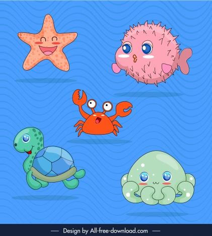 marine species icons cute cartoon sketch