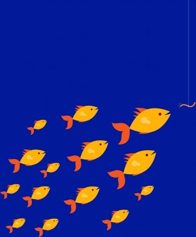 marine wildlife demand background fishes group icons decoration