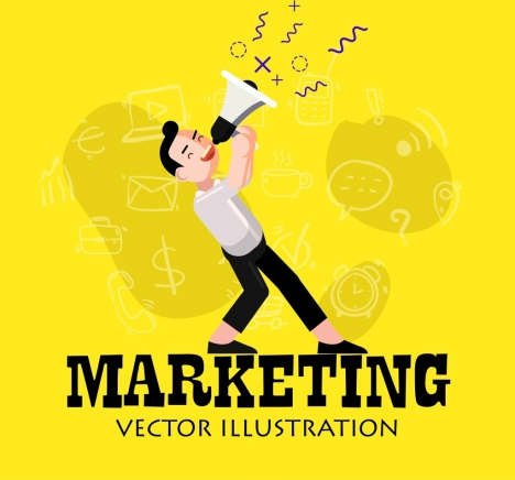 marketing background man megaphone icons cartoon character