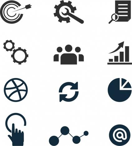 marketing concept design elements various flat symbols isolation