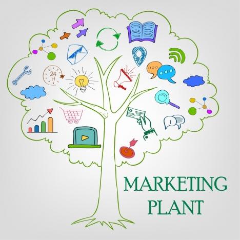 marketing plant concept colored handdrawn style flat symbols