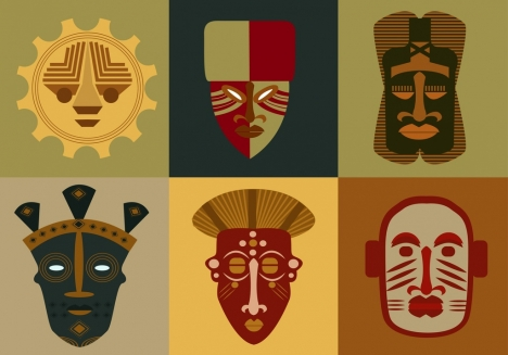 masks icons collection tribal flat isolation