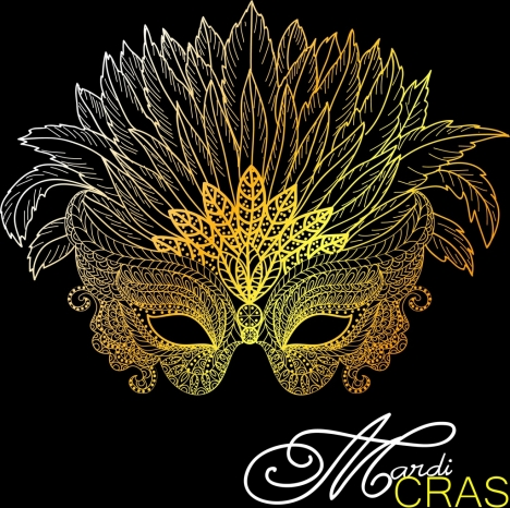 masquerade mask icon classical yellow design