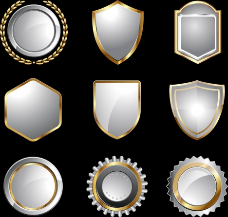 medal templates collection various shapes shiny silver design