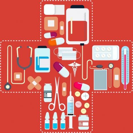 medical background various tools icons bandage cross layout
