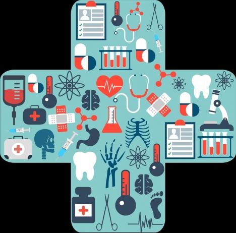 medical design elements cross bandage layout flat symbols