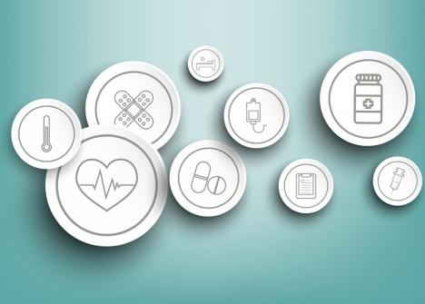 medical design elements flat circles decoration