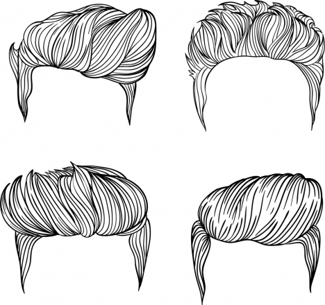 Men Hairstyles Collection Black White Sketch Vectors Stock In Format