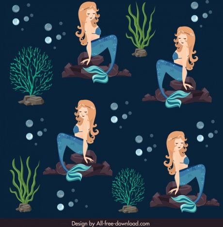 mermaids background colored cartoon characters decor