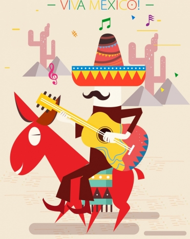 mexico background guitarist donkey icon colorful design
