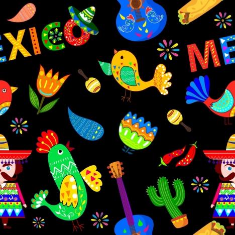 mexico design elements multicolored dark design various icons