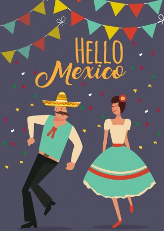 mexico festival banner traditional dancer icons retro design