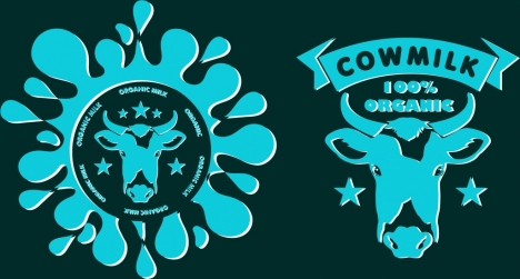 milk logo sets blue splashing cow head decoration
