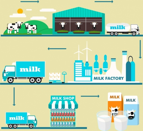 milk supply chain infographic various processes design