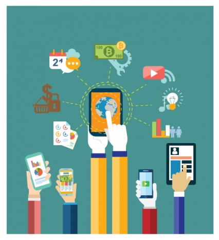 mobile app sets design on flat illustration