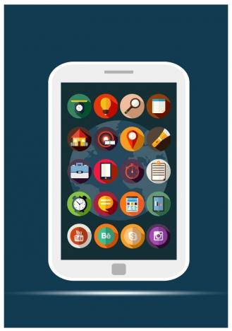 mobile applications sets illustration with flat design