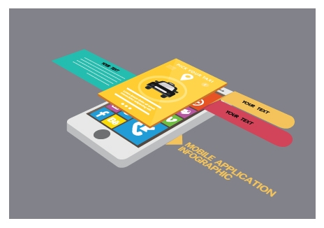 mobile phone application infographic with colored ui illustration