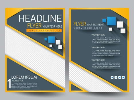 modern flyer template with squares on grey background