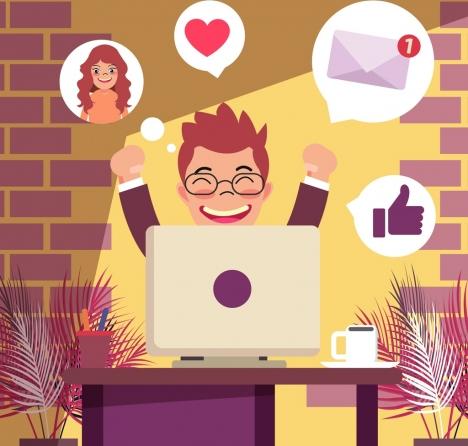 modern lifestyle background happy man laptop internet icons