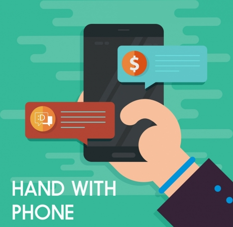 modern technology banner smartphone card hand icons