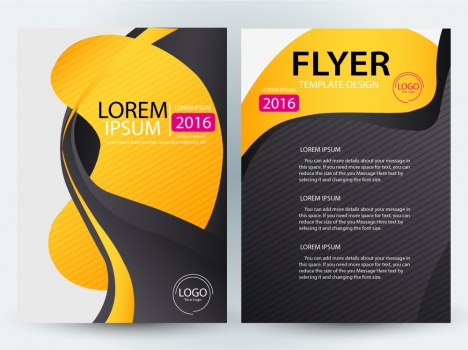 morden flyer design with curved illustration background