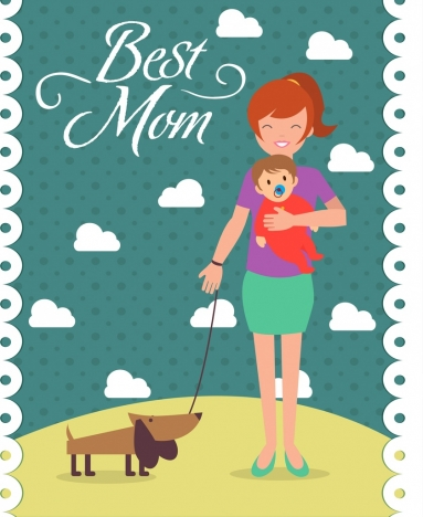 mother day background happy mother son icons decoration