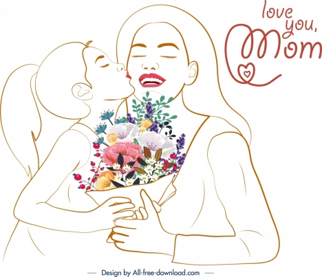 Mother Day Banner Daughter Kissing Mom Handdrawn Sketch Vectors
