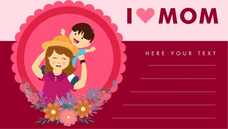mother day card cartoon style pink decoration