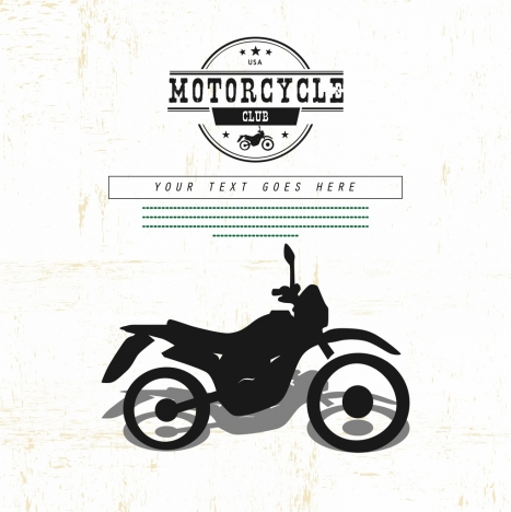motorbike advertisement black white retro ornament