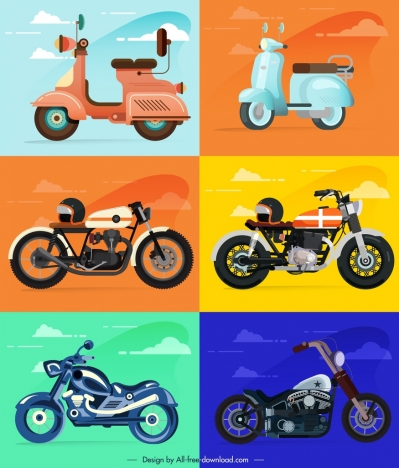Motorbike Icons Templates Colorful Classical Modern Sketch Vectors
