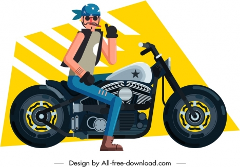 motorbike rider icon cartoon character sketch
